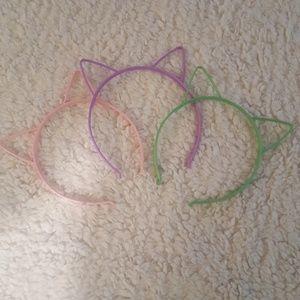 Lot of 3 Plastic Cat Ear Headbands
